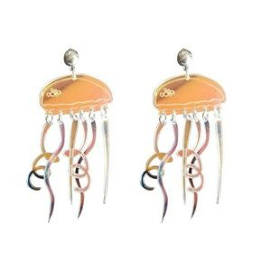 Iridescent Lucite Jelly Fish Dangle Earrings